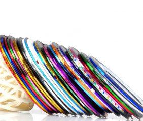 Цветная декоративная лента-скотч для дизайна ногтей