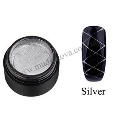 Гель паутинка для дизайна ногтей Spider Gel серебро