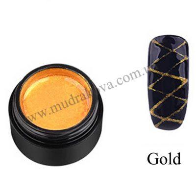 Гель паутинка для дизайна ногтей Spider Gel золото