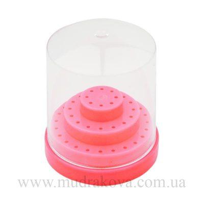 Подставка под насадки фрезера с крышкой, розовая