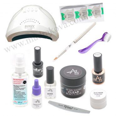 Стартовый набор для наращивания ногтей ArtS лампа SUN UV 48W